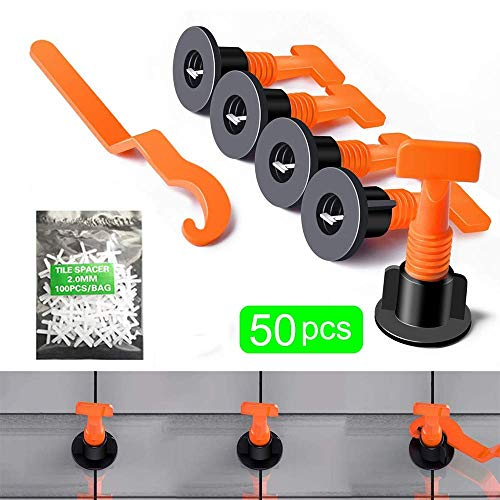 (50pcs Tiles Leveler Spacers Tile Leveling System with Special Wrench Reusable Spacer Flooring Level Tile levellers Set System Construction for Builing Walls & Floors (black) (black))