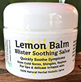 "LEMON BALM Cold Sore & Shingles Salve! 1 Oz, Quickly soothe Blisters, Rashes, Herpes, Molluscum, Bug Bites, Chicken Pox. Suppress future outbreaks. 100% Natural. ""Goodbye, itchy red bumps!"""