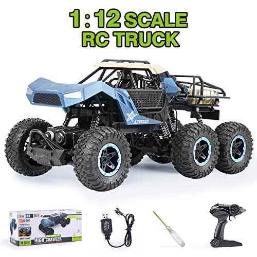 Remote Control Truck 6WD RC Cars Off Road 1:12 RC Crawler High Speed Vehicle Rechargeable Hobby Toy Cars for Adults and Kids