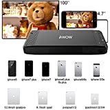 AWOW S2 Mini Portable Video Projector for iPhone X/8/7/6/5 and iPad 8 Plus Pocket Size Movie Home Theater Outdoor Led DLP Projectors support 100 Display Black