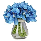 12 PCS High Quaulity Latex Real Touch Cymbidium Orchid Artificial Flower Bouquet for Wedding Holiday Bridal Bouquet Home Party Decor bridesmaid (Blue)
