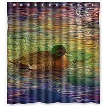Hot Sale Yellow Duck/Mandarin Duck/Mallard Ducks Fly In Sky Waterproof Fabric Bathroom Shower Curtain 66(w)x72(h)Inch