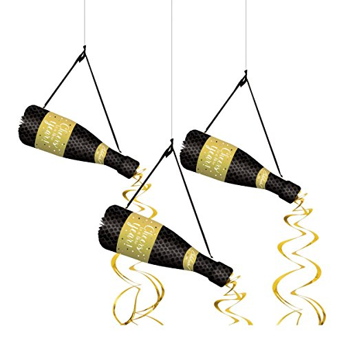New Years Eve Champagne Bottle Hanging Honeycomb Decor 3 Pc 25 x 12