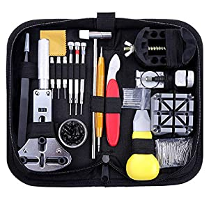 Zacro 151 Pcs Kit de Reparación de Relojes, con Herramientas de Reloj Barra de Resorte Profesional, con Abridor de Repara Pulsera de Reloj 52mm con Estuche Negro, Varios Accesorios,etc. 51hokN5hK0L
