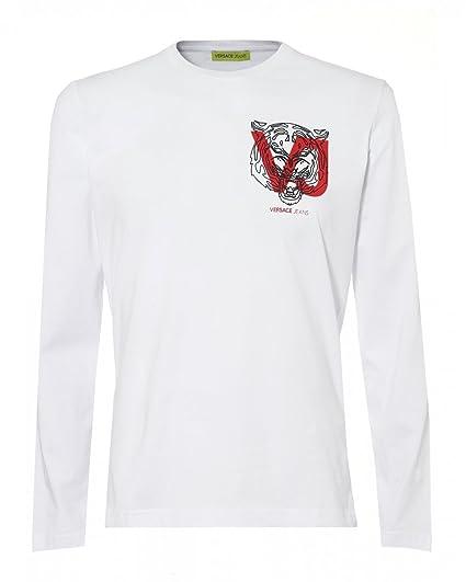 97d982623 Versace Jeans Mens Chest Tiger Logo Slim Fit T-Shirt: Amazon.co.uk: Clothing