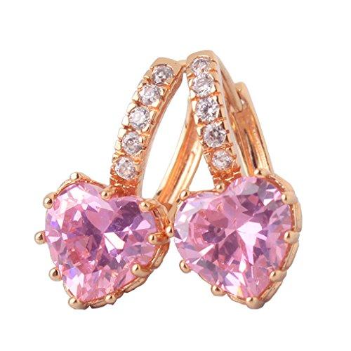 (GULICX Yellow Gold Tone Created Pink pearl rhinestone love leverback hoop glitter earrings for girls)