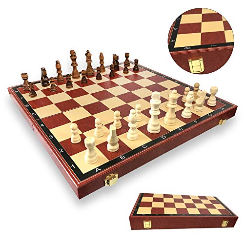 Isketch 15.8″ PU Leather Travel Chess Set, Portable Folding Chess Board Game for Adults