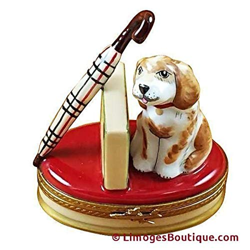 Spaniel Umbrella - SPANIEL W/BRIEFCASE & UMBRELLA - LIMOGES BOX AUTHENTIC PORCELAIN FIGURINE FROM FRANCE