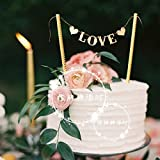 Astra Gourmet 2-Pack 'Love' Cake Banner Bunting Wedding Birthday Party Cake Decorations Flag, Cake Decorations Cupcake Topper