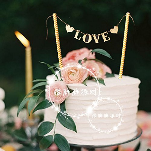 "Astra Gourmet 2-Pack ""Love"" Cake Banner Bunting Wedding Birthday Party Cake Decorations Flag, Cake Decorations Cupcake Topper"