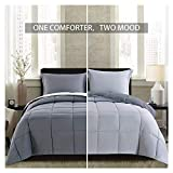 Homelike Moment Lightweight Comforter Set - Queen Gray All Season Down Alternative Comforter Set Summer Duvet Insert 3 Piece - 1 Comforter with 2 Shams Reversible Full/Queen Size Dark Gray/Light Grey