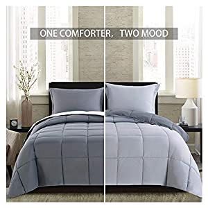 Homelike Moment Lightweight Comforter Set Queen Gray Solid Down Alternative Reversible Comforter Set 3 Piece - 1 Comforter with 2 Shams All-Season Duvet Insert (Full/Queen Size, Dark Gray/Light Grey)