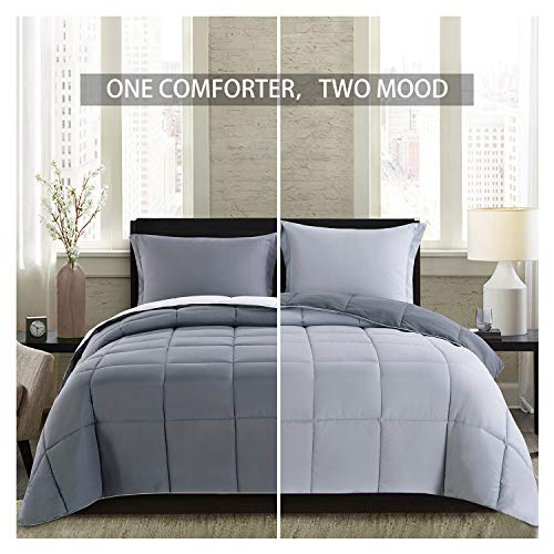 Lightweight Comforter Set - King Gray All Season Down Alternative Comforter Set Summer Duvet Insert 3 Piece - 1 Comforter with 2 Shams Reversible King Size Dark Gray / Light Grey 104x88 in