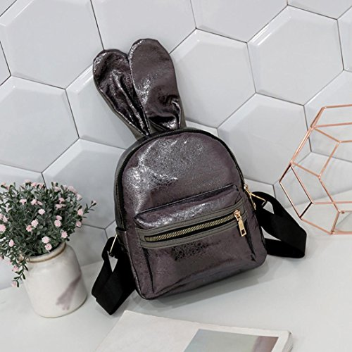Coffee Ladies Backpack Rabbit Shoulder Sequins Girls Leisure Leather Casual Travel School Hlhn Women Ears Bag Satchel BR6ZZq