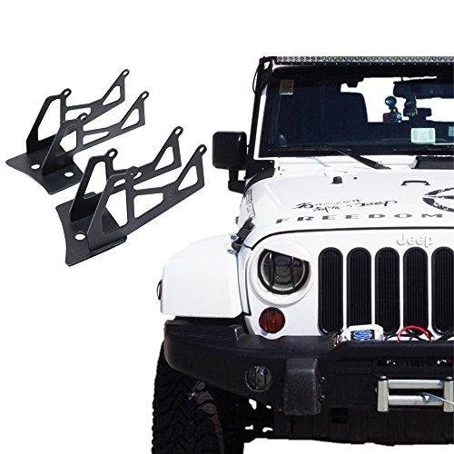 Xprite Steel Windshield Lower Corner Hinge Brackets Mounting For Dual LED Spot Flood Lights on 2007-2018 Jeep Wrangler JK - 1 Pair