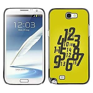 Caucho caso de Shell duro de la cubierta de accesorios de protección BY RAYDREAMMM - Samsung Galaxy Note 2 N7100 - Typography Funky Yellow Watch