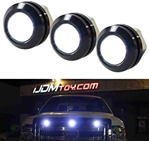 iJDMTOY Raptor Style Amber LED Grille/Clearance Marker Lighting Kit, Universal Fit Compatible With Truck or SUV Front Grill, Powered By 3-Piece High Power Amber Yellow Diodes w/Projector Lens