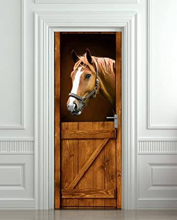 Amazon.com Door LAMINATED STICKER Horse in Stall Stable Western mural decole film self-adhesive poster 30x79 (77x200 cm) Posters u0026 Prints & Amazon.com: Door LAMINATED STICKER Horse in Stall Stable Western ...