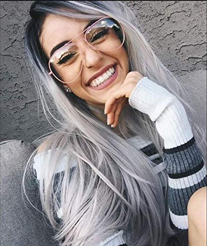 Zenith Grey Lace Front Wigs for Women Black Rooted Silver Grey Hair Wig Natural Weave Long Wigs with Black Roots Middle Part 22 inch Best Affordable Wigs for Daily -
