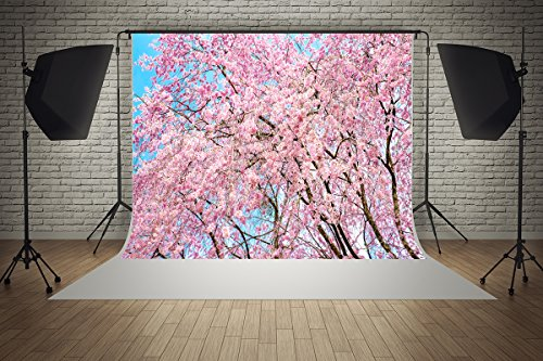 7ft(W) x 5ft(H) Mother's Day Backgrounds Spring Pink Flowers Cherry Blossom Tree Wedding Baby Shower Party Microfiber Photo Backdrop Studio Props -