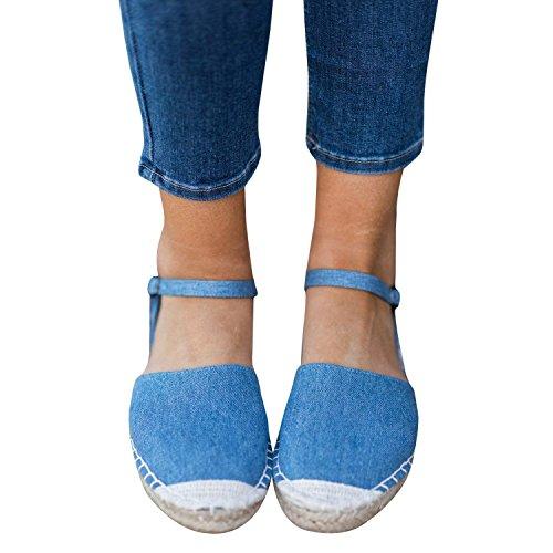 Femmes Plage de Sandale Minetom Bouche Mode Poissons Plate Sandales B Décontractée Été Printemps Talon Sandales Bleu Chaussures Sg1wfdxqd