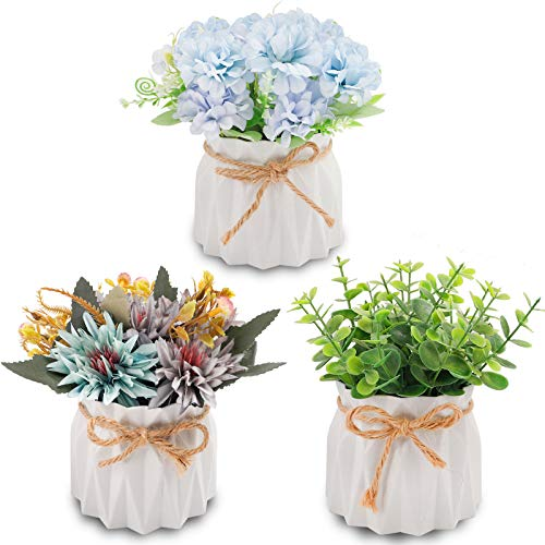 TELDRASSIL 3 Pack Mini Artificial Potted Plants Artificial Hydrangea Flowers for Wedding Home Party Office Table