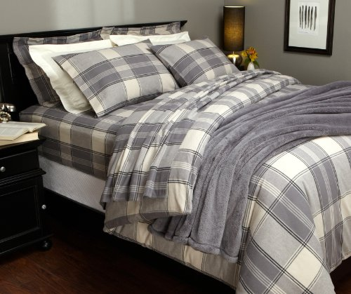 Pinzon Lightweight Cotton Flannel Duvet Cover Full Queen