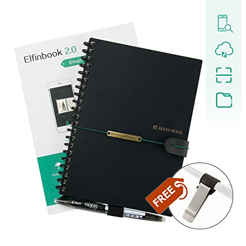 [2018 UPGRADED] Newest Version Elfinbook Smart Wirebound Notebook, Cloud Storage App Notebook, Reusable 500+, Erasable, Water-to-Erase (B5, 6.9x9.8 inch) by Elfinbook
