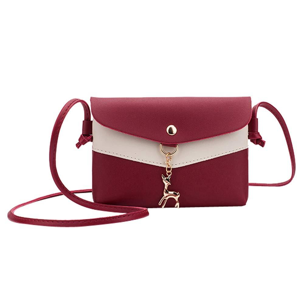 Shoulder Bag for Women Fawn Leather Pendant Messenger Satchel Tote Crossbody Phone Bag,Rakkiss