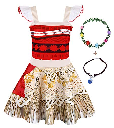AmzBarley Moana Outfit 3T Princess Dress up Little Girls Lace Sleeveless Birthday Party Costume Cosplay Outfit with Necklace and Flower Headband Size 3T(2-3Years)