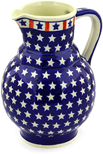 Polish Pottery 58 oz Pitcher (Americana Theme) + Certificate of Authenticity
