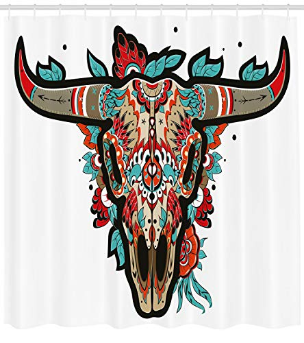 Ambesonne Western Shower Curtain, Buffalo Sugar Mexican Skull Colorful Ornate Design Horned Animal Trophy, Cloth Fabric Bathroom Decor Set with Hooks, 70 Inches, Turquoise Orange Taupe for $<!--$29.95-->