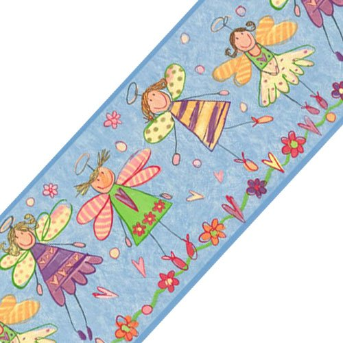 Sure Strip Blue Fairy Princess Angels Prepasted Wall Border Roll