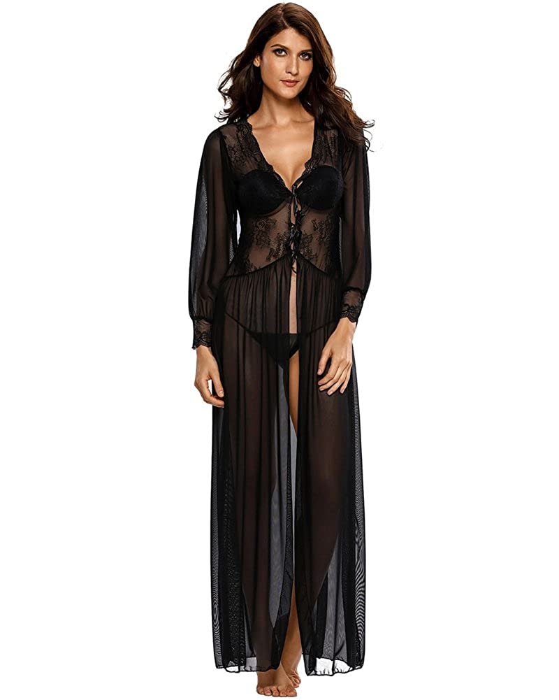 f76a561798d Amazon.com  Romacci Women s Sexy Sheer Lace Long Robe Lingerie Underwear  Sleepwear Gowns with Thong  Clothing