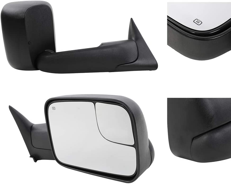 TRIBLE SIX Towing Mirror Fit for 1998-2001 Dodge Ram 1500 /& 1998-2002 Ram 2500 3500 Pickup Truck Power Heated Folding Tow Rear View Mirror Pair Set