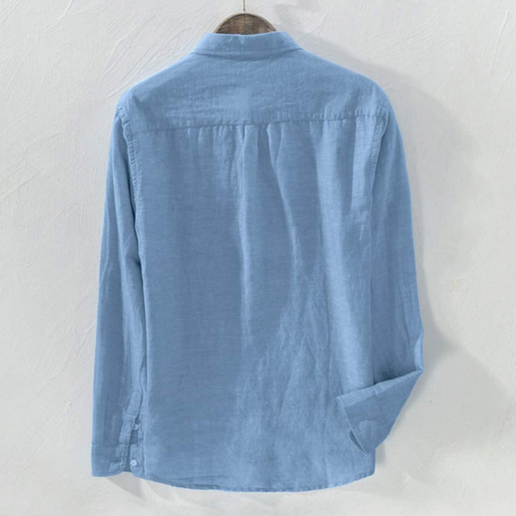 Hmlai Clearance Mens Casual Baggy Solid Long Sleeve Button Down Pocket Plus Size Regular Fit Cotton Linen Shirts