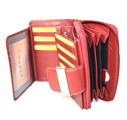 Ladies Leather Wallet Purse in Red with lots of storage space and 28Card...
