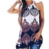 Womens Vest Tops,Sexy Print T-Shirt Summer Halter Sleeveless Blouse Beach Leisure Tunics Camisole Tankinis Tees Navy