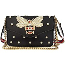 Beatfull Designer Pu Leather Handbags for Women, Fashion Bee Shoulder Bags Cross Body Bag with Pearl