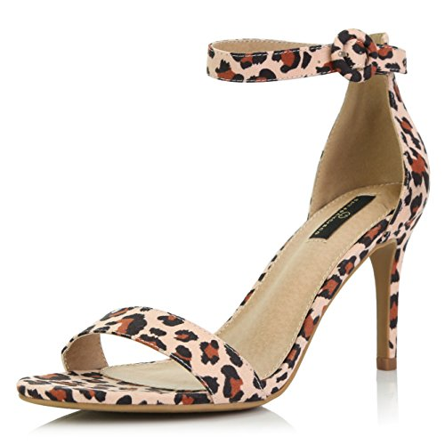 DailyShoes Women's Stilettos Open Toe Pump Ankle Strap Dress High Heel Sandals, Leopard Suede, 7.5 B(M) US