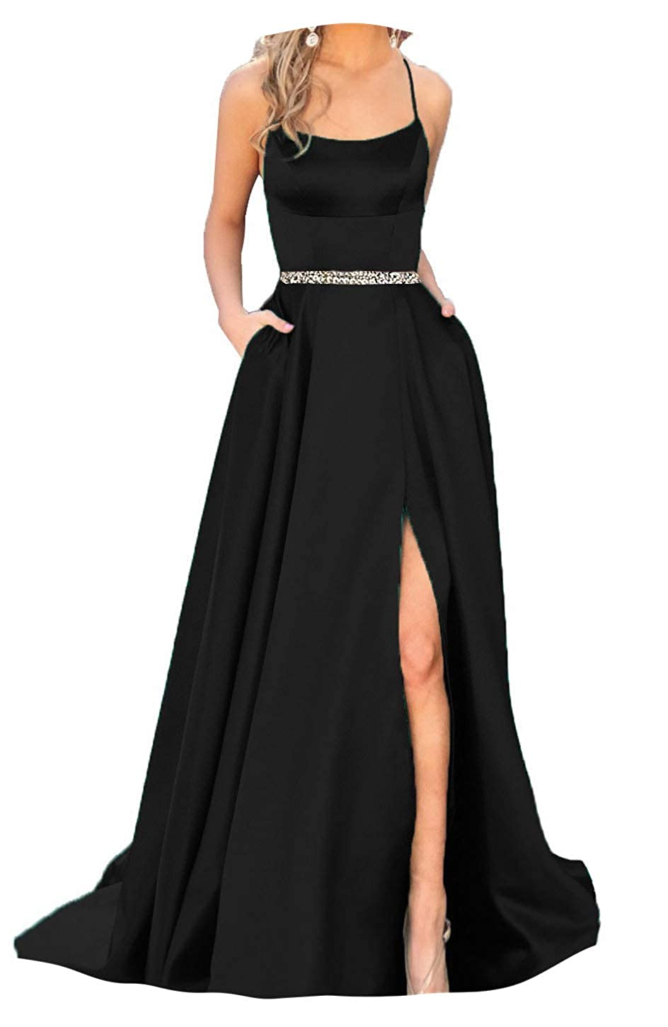 Black With Beaded Fanciest Women's Halter Slit Satin Prom Dresses Long Backless Evening Formal Gowns