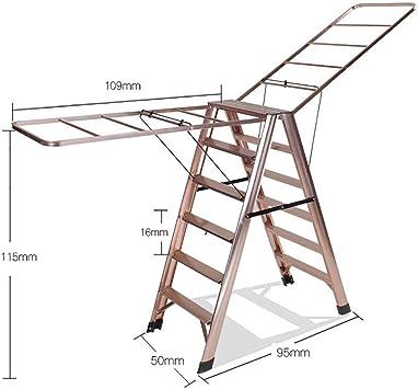 AOLI Escalera de secado de ropa multifuncional, escalera de aluminio plegable Escalera de mano portátil para cocina casera Garaje-A,si: Amazon.es: Bricolaje y herramientas