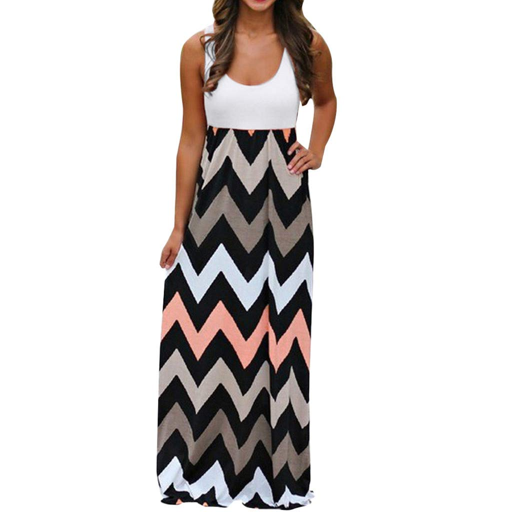 Gibobby Women's Casual Sleeveless Long Maxi Dress Striped Solid Color Tunic Beach Summer Boho Maxi Dresses Plus Size White