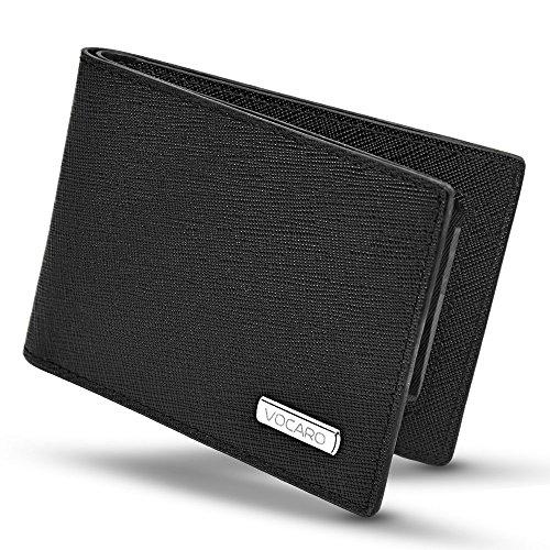 Saffiano Bi Fold (Minimalist Bifold Mens RFID Blocking Genuine Saffiano Leather Wallet | VOCARO)