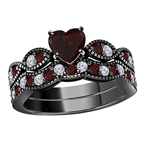 1.50 Ct 14k Black Gold Plated Heart Shaped Antique Vintage Style Red Garnet and Cubic Zirconia Milgrain Weave Engagement Wedding Ring Set