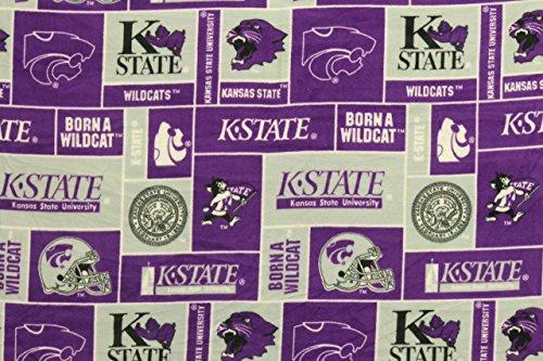 (Kansas State Wildcats NCAA Football Anti-Pill Polar Fleece - Plush Fabric Polyester 13 Oz 58-60