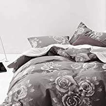 Floral Duvet Cover Set Queen, 100% Soft Cotton Bedding, White Rose Flower Pattern Printed on Dark Gray Grey, with Zipper Closure (3pcs, Queen Size)