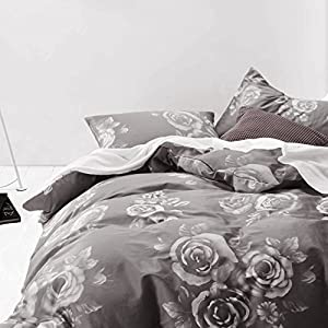 Gray Floral Duvet Cover Set, 100% Cotton Bedding, White Rose Flowers Pattern Printed on Dark Grey, with Zipper Closure (3pcs, King Size)