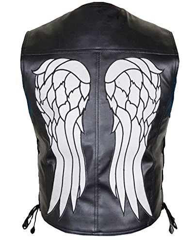 Governor - Daryl Dixon Angel Wings Vest for Men in Genuine Leather Form The Series The Walking Dead (XL) Black
