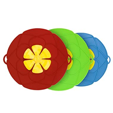 Spill Stopper Lid Cover, 3Pack Horsky Silicone Boil Over Safeguard Anti Spill Lid Cover Pot Pan Lid Multi-Function Cooking Kitchen Tool Two big 11.4 inch and one Small 10.2 inch (Green, Red & Blue)